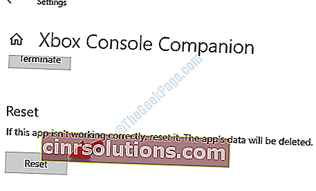 Xbox Console Companion Advanced Options Reset Resest Button