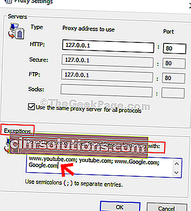Proxy Settings Exceptions Do Not Use Proxy Serverfor Addresses Beginning With Type Web Addresses