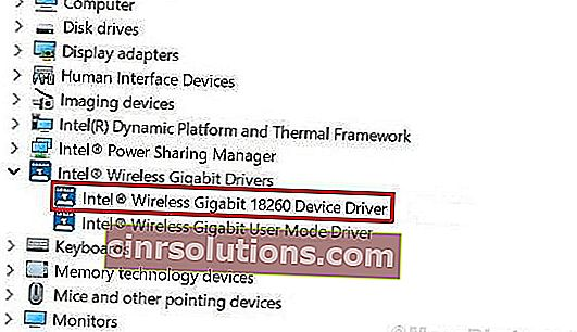 Nonaktifkan Driver Mode Pengguna Intel Wireless Gigabit 17265